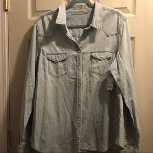 Gap 1969 Long Sleeve Light Denim Top new with tags
